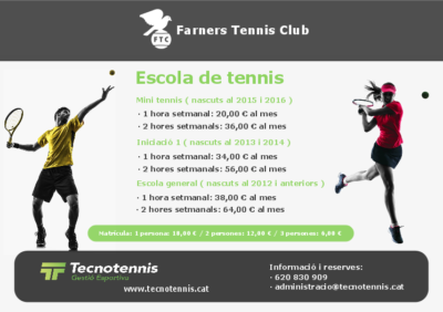 Escola de Tennis 2020-2021 ( Farners Tennis Club )