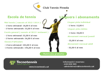 Escola de tennis 2018-2019 ( Club Tennis Pineda )
