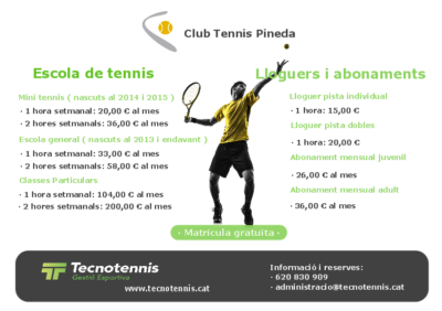 Escola de tennis 2019-2020 ( Club Tennis Pineda )